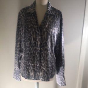 Lafayette 148 gray printed 100% blouse